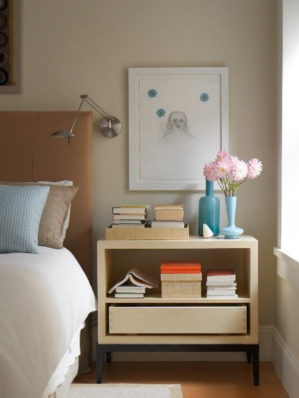 Have a few of your favorite reads bedside in the guest room. This is a great (not to mention, cheaper) alternative to installing a television in the guest room. Source: