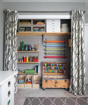 Transforming the office into your creative oasis? Open up your space with curtains-remove those closet doors!