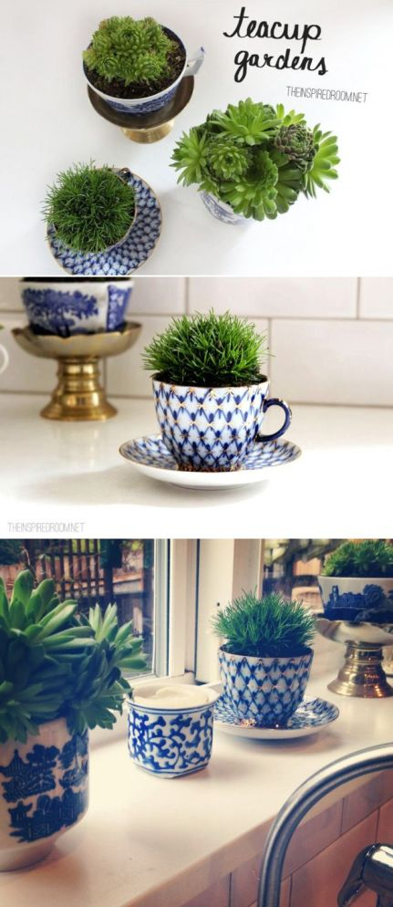 I love the idea of using teacups as décor in the kitchen.